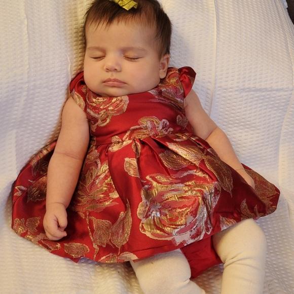 Sz 0-3M Baby Girl Red Dress